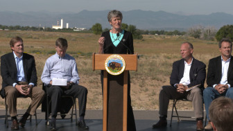 Interior Secretary Sally Jewell announced the greater sage grouse is not warranted for protection under the Endangered Species Act during a press conference at Colorado's Rocky Mountain Arsenal National Wildlife Refuge.