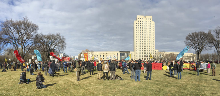 Hundreds of protesters gather in November at the North Dakota Capitol in Bismarck to demonstrate against the Dakota Access Pipeline. Protests have become more frequent in recent weeks.