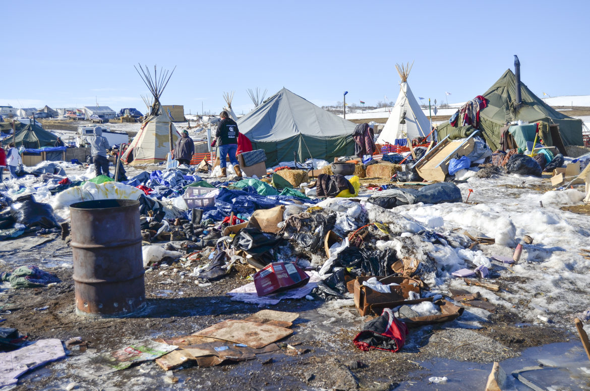 Image result for piles of garbage at dapl protest