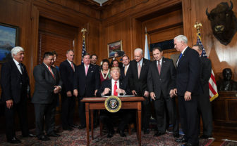 A review of the Antiquities Act is a victory for Utah's Republican political leaders, who are among the people flanking President Donald Trump as he signed an executive order April 16, 2017.