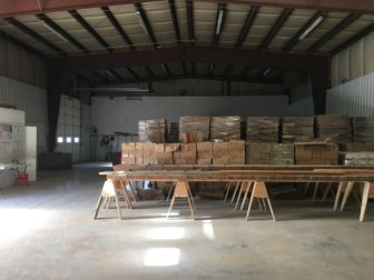 GFG Resource's warehouse stacked high with drill core samples from the Rattlesnake Hills