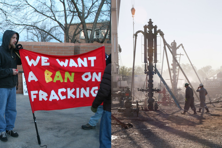 Fracking vs Frac'ing: On the left, fracking protesters hold signs outside Fort Collins City Council Chambers March 5, 2013. On the right, the fracking process at a well site.