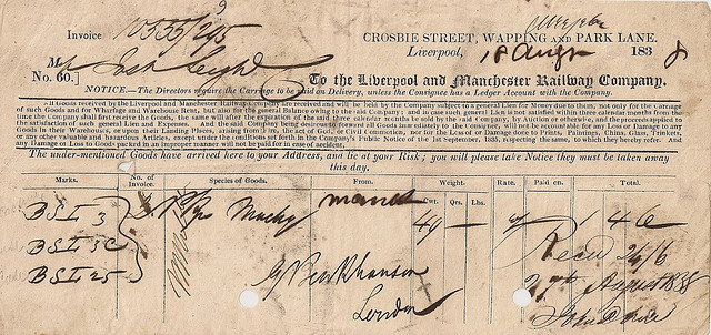 Liverpool and Manchester Railway Waybill, 1843. Shared via a Creative Commons Attribution -NonCommercial License from Flickr user Ian Dinmore.