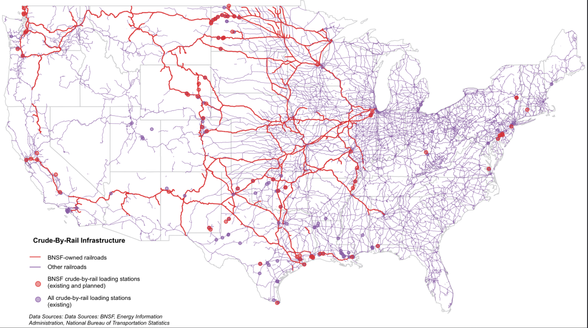 This map shows BNSF-owned railroad lines and crude-by-rail loading facilities (in red), as well as infrastructure owned by other railroad companies. Although we can't be sure where exactly railroad companies are routing train, this map serves as a starting point.