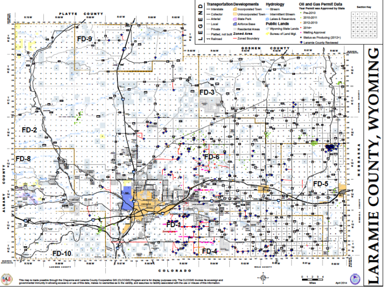 Laramie County well locations and permit applications as of May 2014