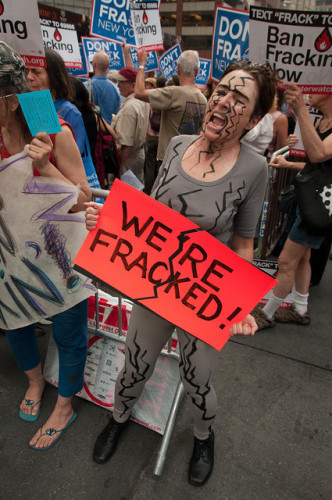 A protester at an anti-fracking march in New York in 2012.
