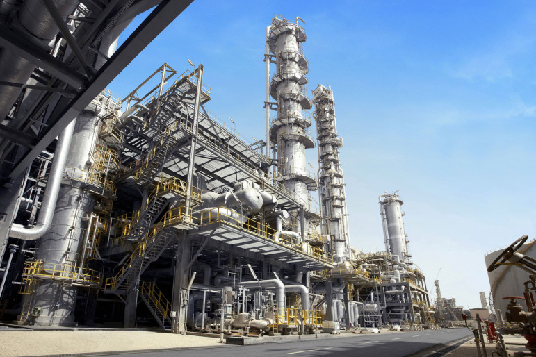 Petrochemical plants like this one in Saudi Arabia use 'cracking' processes to change natural gas products such as propane and ethane into other compunds.