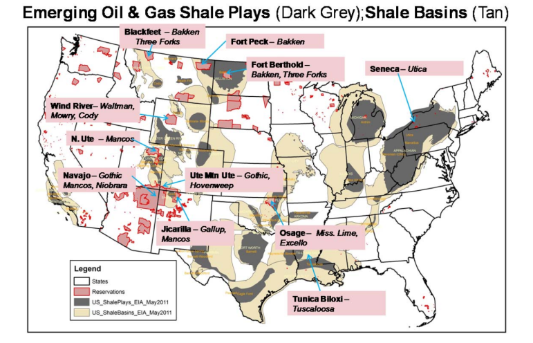 Oil and gas plays are located on reservations.