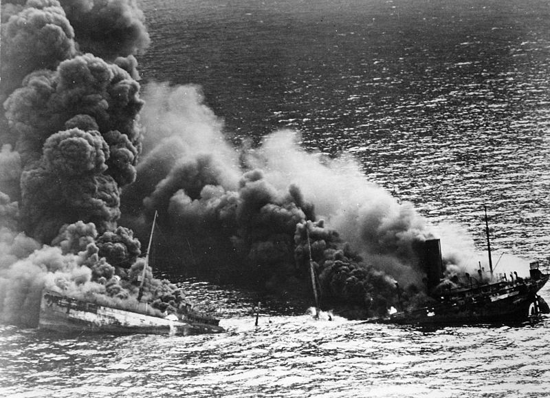 Allied tankers were regularly torpedoed in Atlantic Ocean by German submarines during World War II in an attempt to disrupt the fuel supply chain.