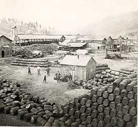 Barrels were used in the early days of oil to move it from one place to another. Often, the barrels were loaded onto barges and floated down Pennsylvania's major rivers to refineries in Pittsburgh, where it was turned into kerosene.
