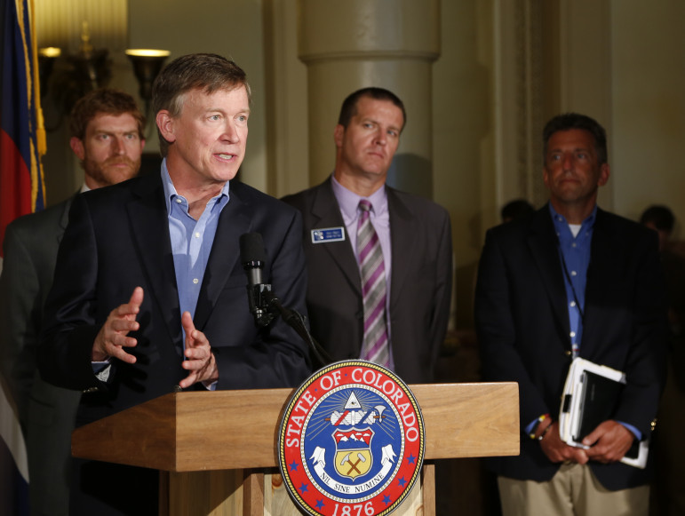 Colorado Governor John Hickenlooper announces a new oil and gas task force Monday in the state capitol building.