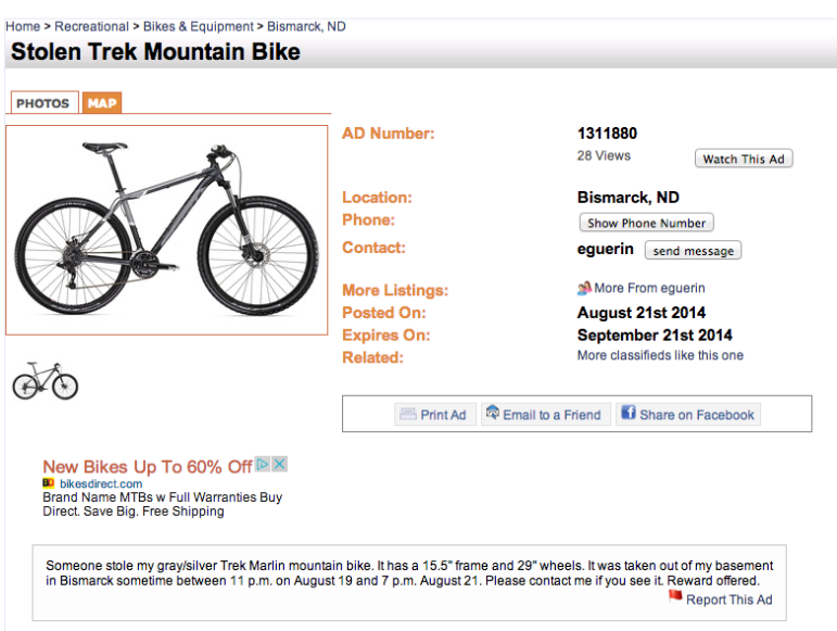The ad I placed in our local version of Craigslist looking for my stolen bike.