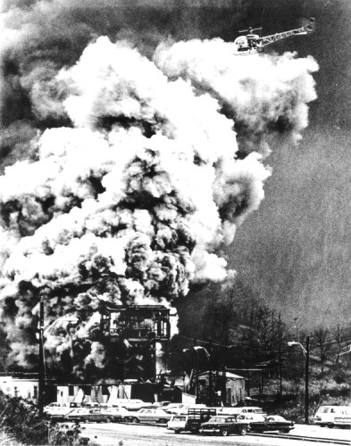 Fire and smoke pouring from the Consol No. 9 mine in Farmington, West Virginia following an explosion on November 20, 1968.