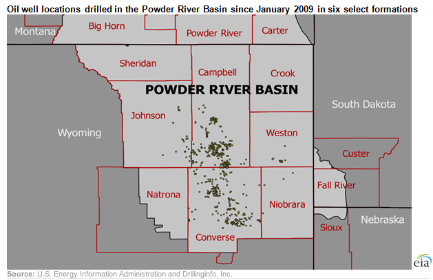 Oil well locations drilled in the Powder River Basin since January 2009