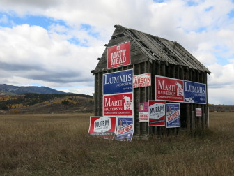 Republican campaign signs cover a roadside shack near Alpine, Wyoming.