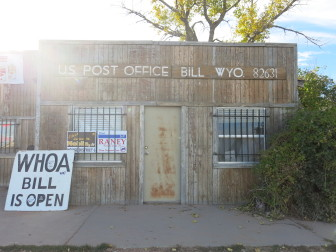 The Bill, WY post office serves 11 residents plus area ranchers and workers.