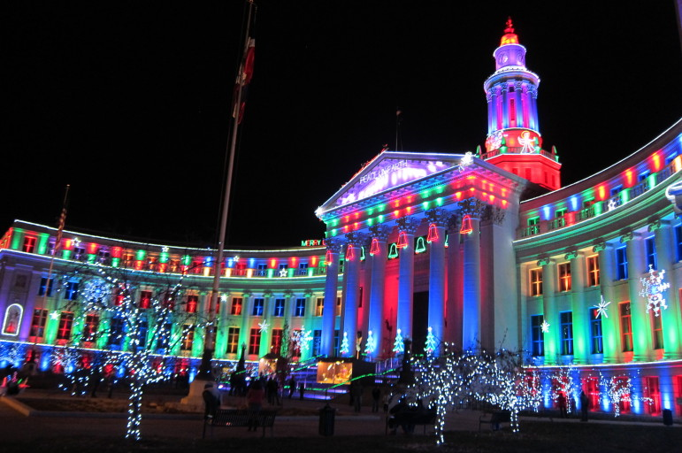 The annual holiday light display at Denver's City & County Building