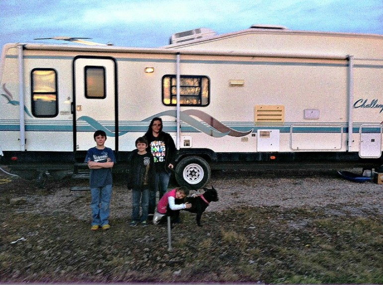 The Foshee family lives in a 31-foot trailer on the outskirts of Gillette, Wyoming.