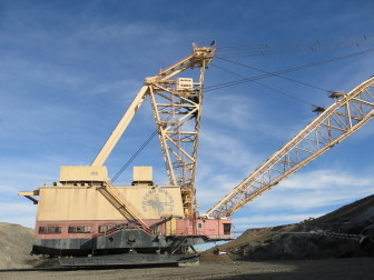 Dragline removes overburden at Cordero Rojo Mine outside Gillette, WY. It is the third largest coal mine in the country.