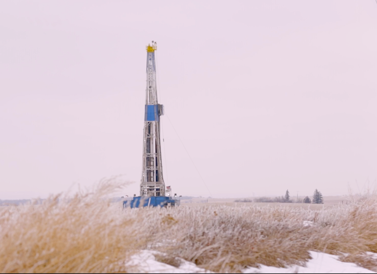 A drilling rig outside Watford City, North Dakota, in December 2014.