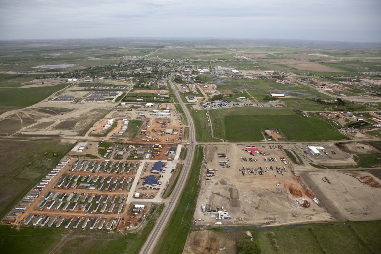 Aerial view of Watford City, North Dakota's new housing developments.
