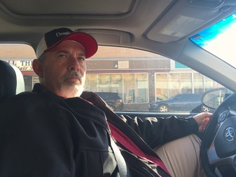 Oil worker Shane Bookout in his car in downtown Williston, North Dakota.