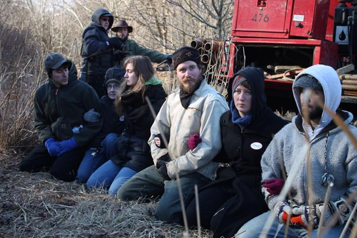 In January, protesters of the Atlantic Sunrise pipeline were arrested in Conestoga, Pennsylvania. Communities are turning to new tactics to keep oil and gas pipelines off their lands. Courtesy Michelle Johnsen/StateImpact Pennsylvania