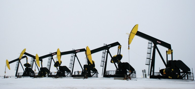 Pumpjacks outside Tioga, North Dakota.