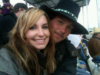 "Lacey Breding, left, with Dustin Bergsing, an oil field worker killed on the job as a ""well watcher "" near Mandaree, North Dakota."