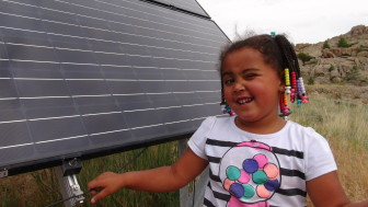 Mayla's great-grandparents installed solar panels and batteries at their home near Alcova, Wyoming.