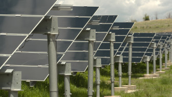 An array of solar panels provide emergency power to critical buildings at Fort Carson Army Base in the event of a blackout on the larger electric grid. on May 26, 2015.