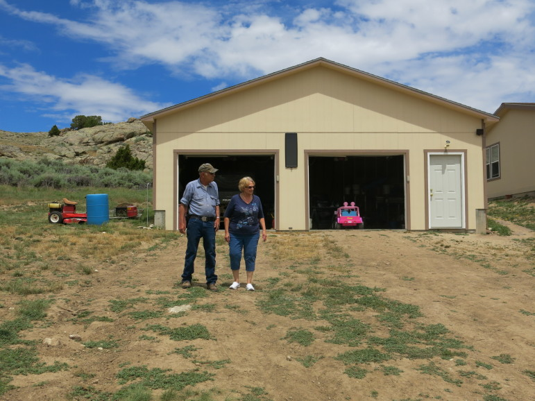 Jim and Lyn Schneider at their home near Alcova, Wyoming.