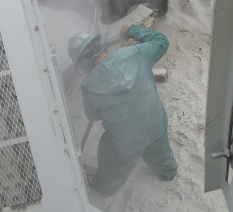 A worker observed by researchers from the National Institute for Occupational Safety and Health during exposure to silica dust on the job in this undated handout photo.