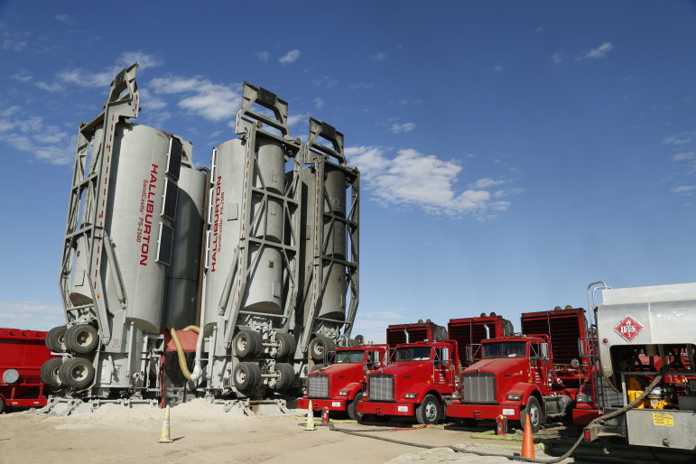 Halliburton equipment in place at a Colorado oil and gas site.