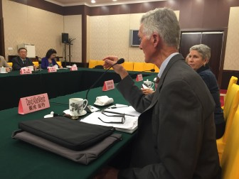 David Wendt, head of the Jackson Hole Center For Global Affairs, meet with local leaders in Shanxi province.