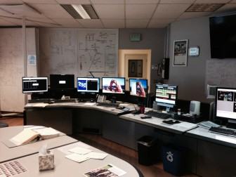 A view from inside the dispatch control room at Delta-Montrose Electric Association in Montrose, Colorado.