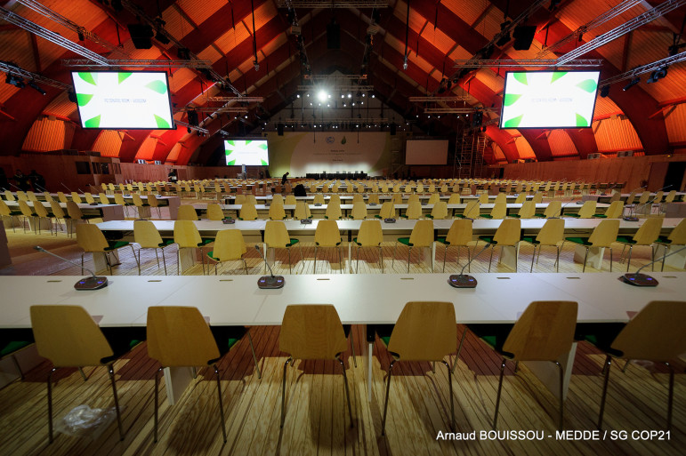 "The ""Seine"" meeting hall at the Paris climate summit."