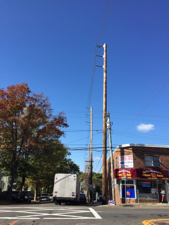 Port Washington, Long Island's new power lines are the tallest things on the block. Some hope a microgrid will prevent the need for new lines like these in thee future.