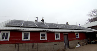 Thirty-six solar panels on top of this old farm shed can provide up to 10 kW of energy. This array cost about $39,000 although tax credits and USDA funding will reduce the cost.