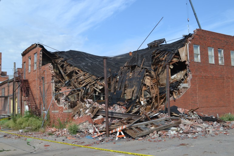 A collapsed building in Cushing, Oklahoma, after several 4.0-range quakes rocked the area in late 2015.