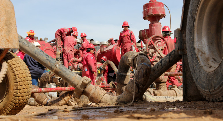 A frack operation in the Permian Basin of Texas, the nation's highest-producing oilfield. The Basin was once the floor of an ancient seabed that today is laden with hydrocarbons.