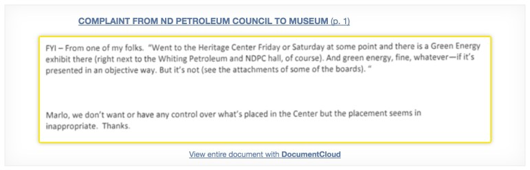 Complaint from North Dakota Petroleum Council to Museum