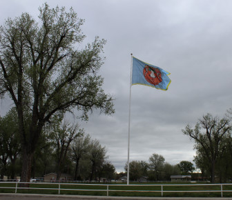 The Crow flag flies at tribal headquarters.