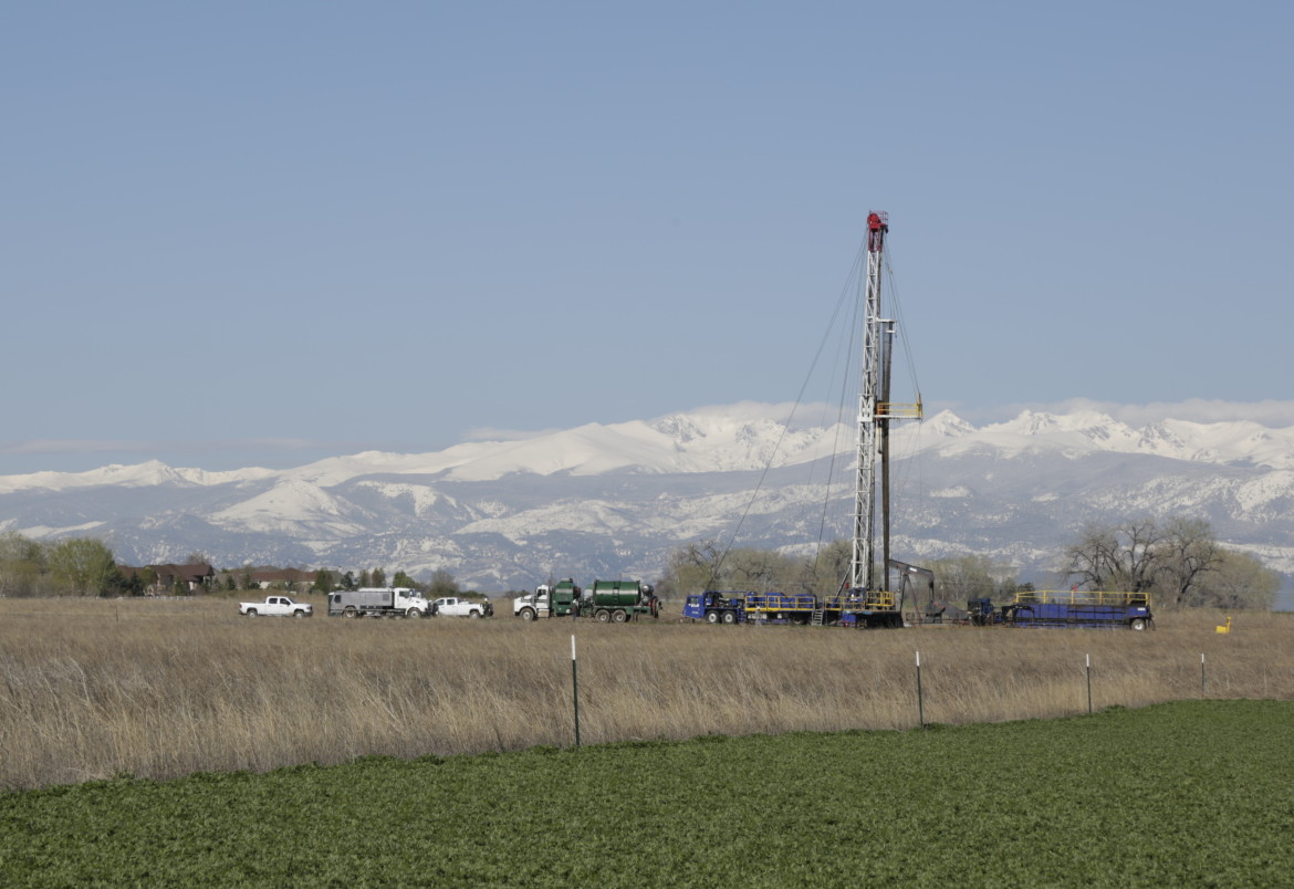 A drilling rig operating near Erie, Colorado on Monday.