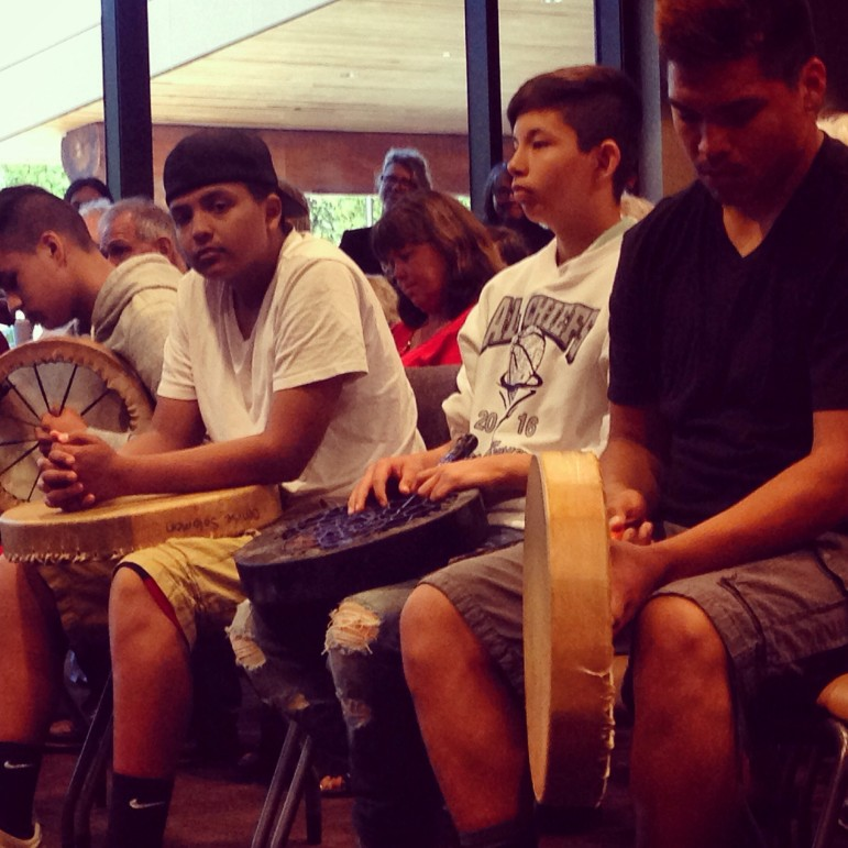Young drummers of the Lummi tribe wait for their elders to start celebrating the announcement from the feds today denying permits for what could have been the largest coal export terminal in the US, right here in Northwestern WA.