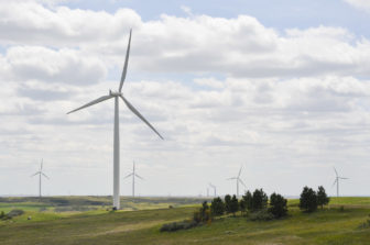 A wind farm operates a few miles north of the Center Mine and its adjacent power plant.