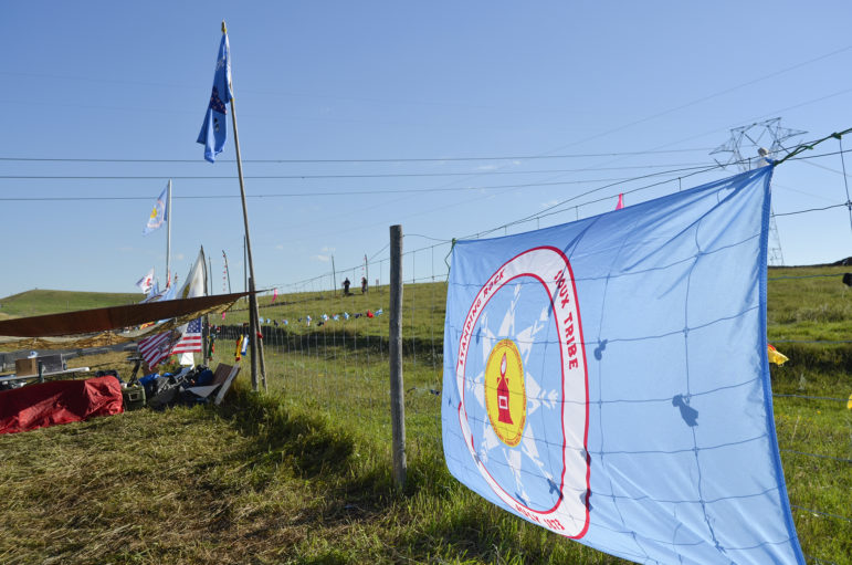 Signs of protest at the Dakota Access pipeline construction site.