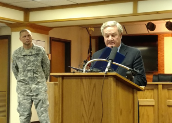North Dakota Gov. Jack Dalrymple announces he's calling in the National Guard to assist law enforcement with the Dakota Access Pipeline protest. Standing with him Thursday is Maj. Gen. Al Dohrmann of the Guard.
