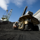 Bucyrus Erie 2570 dragline and CAT 797 haul truck at the North Antelope Rochelle open-cut coal mine.