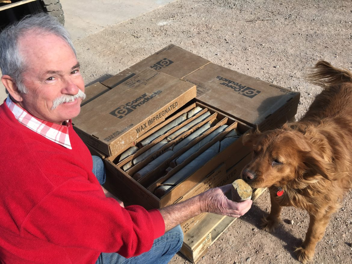 Tim Brown with his dog ruby showing me drill core from the Rattlesnake Hills